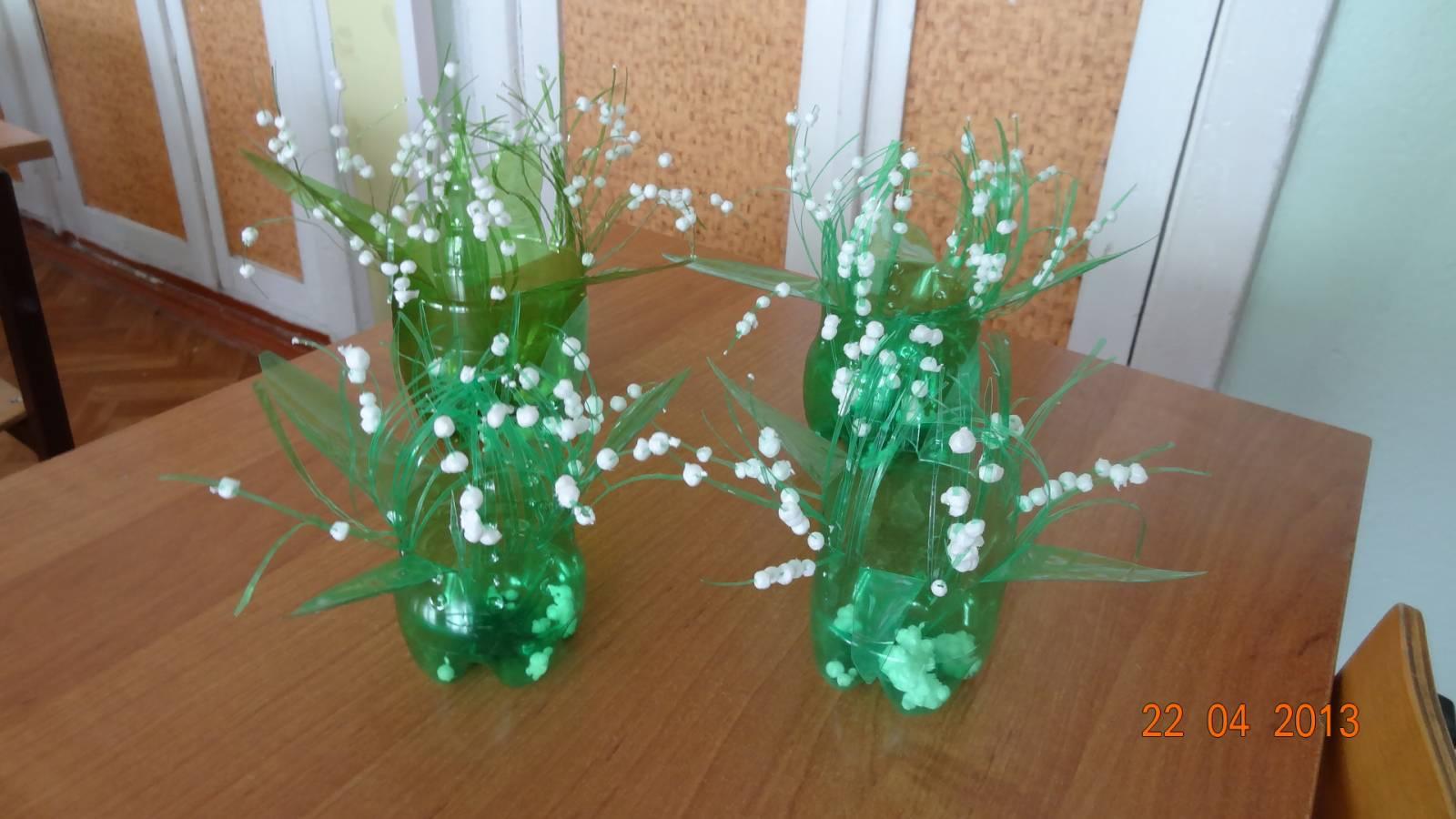 Цветы из пластиковых бутылок - лилии и ландыши: пошагово 100